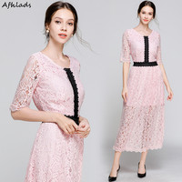 Solid color lace dress women's autumn new half sleeve dress casual female round neck patchwork fashion elegant long pink dress