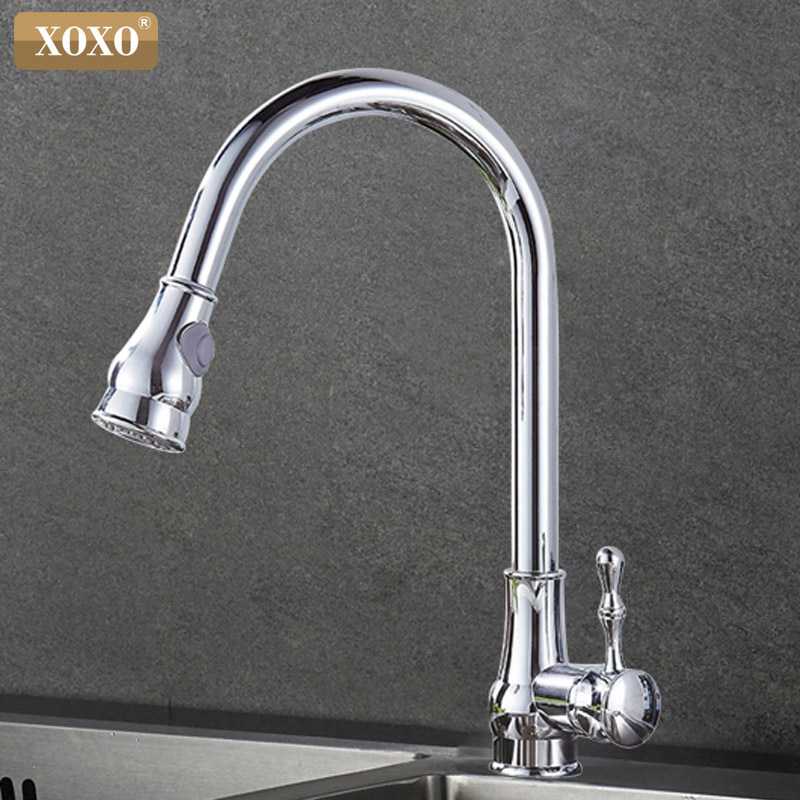 XOXO Kitchen Faucet Brass Brushed Nickel High Arch Kitchen Sink Faucet Pull Out  360 degrees Rotation Spray Mixer Tap 83014