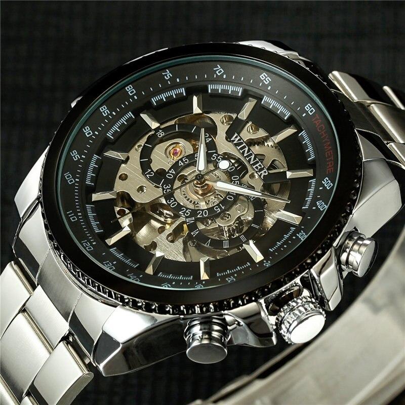 Stylish Classic Men's Black Watch Automatic Skeleton Mechanical Male Wrist Watch Man