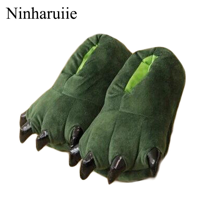 Funny Winter Spring Family Matching Shoes Thickening Antiskid Fluffy Kids Slippers Coral Fleece Dinosaur Claws Shoes Girl/boys