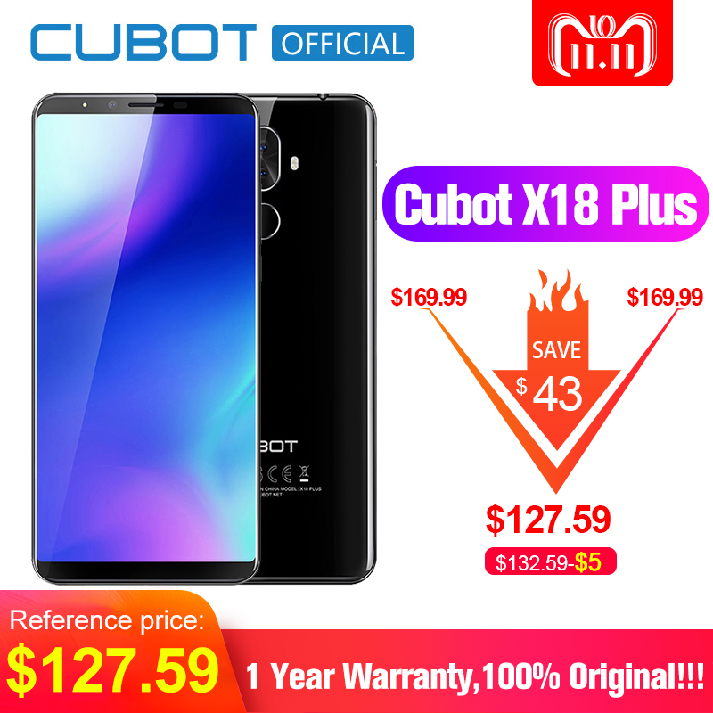 Cubot X18 Plus. Android 8.0 18:9 FHD + 4 gb 64 gb 5.99 pollice MT6750T Octa-Core Smartphone 20MP + 2MP Posteriore Telecamere 4000 mah 4g Celular