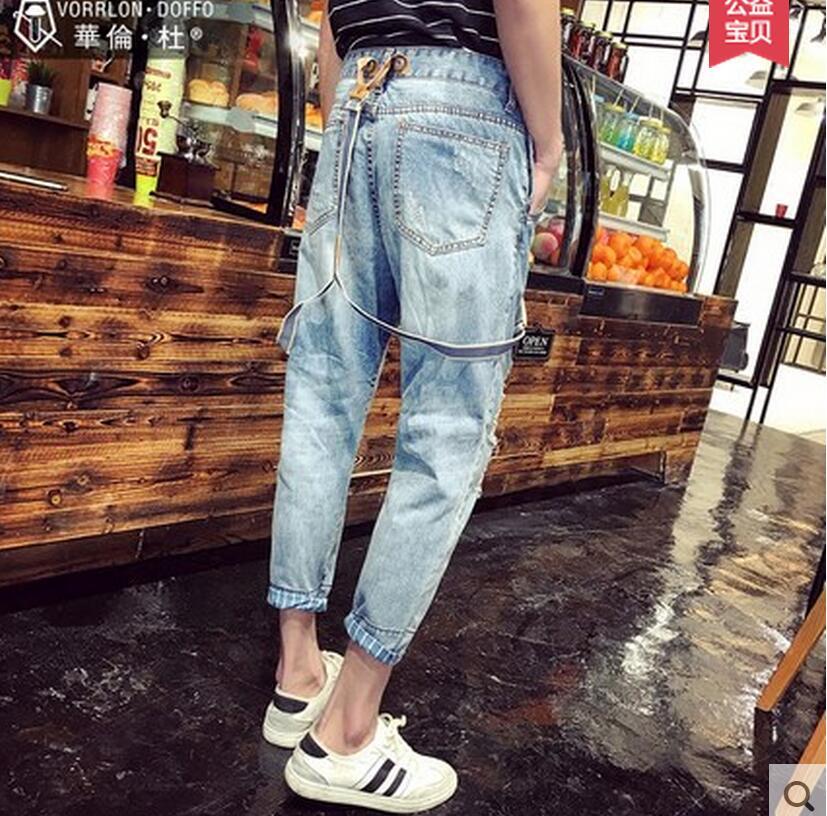 Courroie D'une Bleu Pantalon Jeans Costumes Vêtements Nouveau Hommes Chanteur Bretelles Mince Scène Seule D'été 2016 De Pièce Gaine Trou Occasionnels Hw78xWYB
