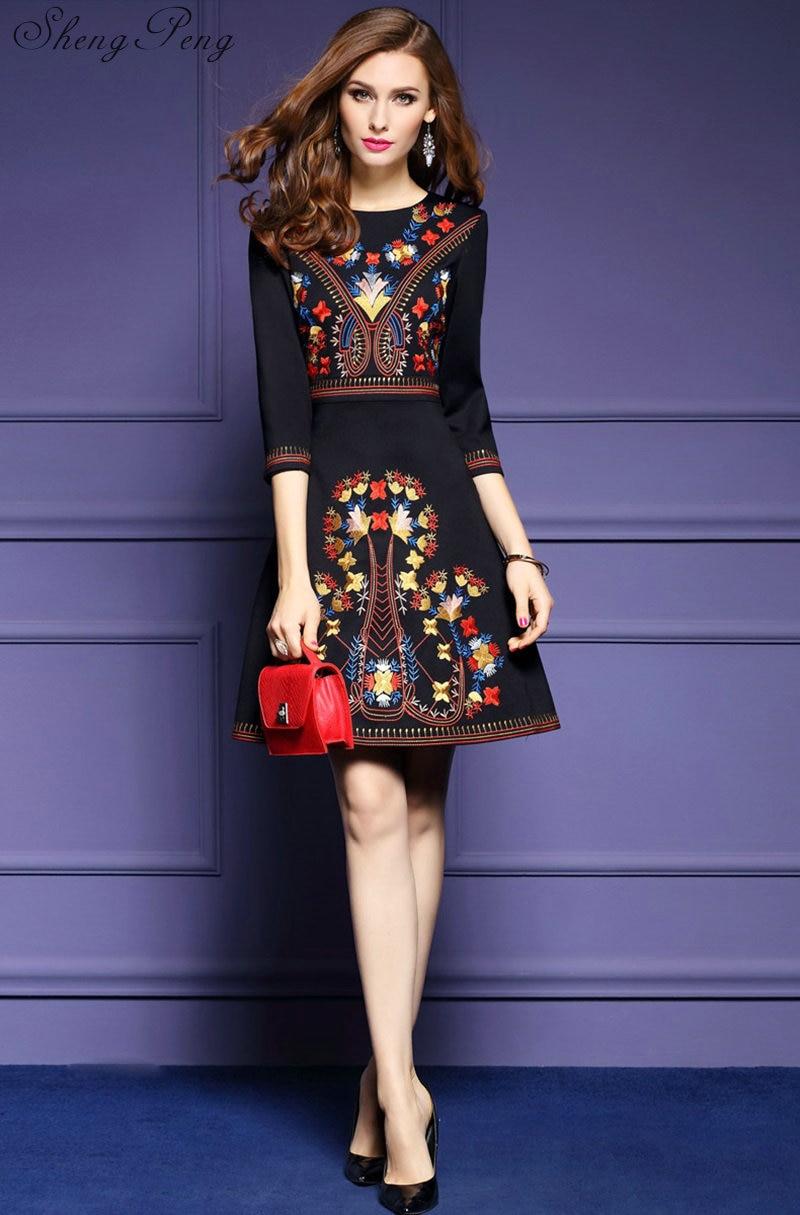 119e1c6e893 2018 new mexican embroidered dress woman black mexican dress boho chic  dresses ladies tunic boho style dresses CC175
