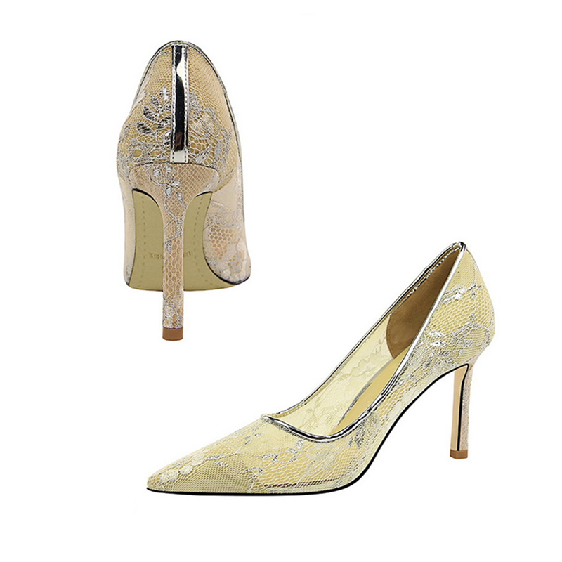 Women 39 s Pumps 8cm High Heels Sandals Office Lady Women Shoes Sexy Bride Party Thick Heel Mesh Lace Hollow High Heel Shoes Summer in Women 39 s Pumps from Shoes