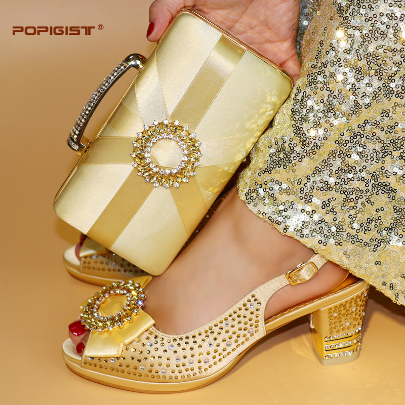 Aliexpress.com   Buy Italian Gold Color Shoes with Matching Bags High  Quality African Shoe and Bag Set for Party In Women Nigerian Shoes and Bag  Set from ... b5af99cad489