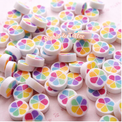 25pcs/ Polymer Clay Rainbow Candy Deco Toppings Fake Faux Sweets Decoden Kawaii Cabochon