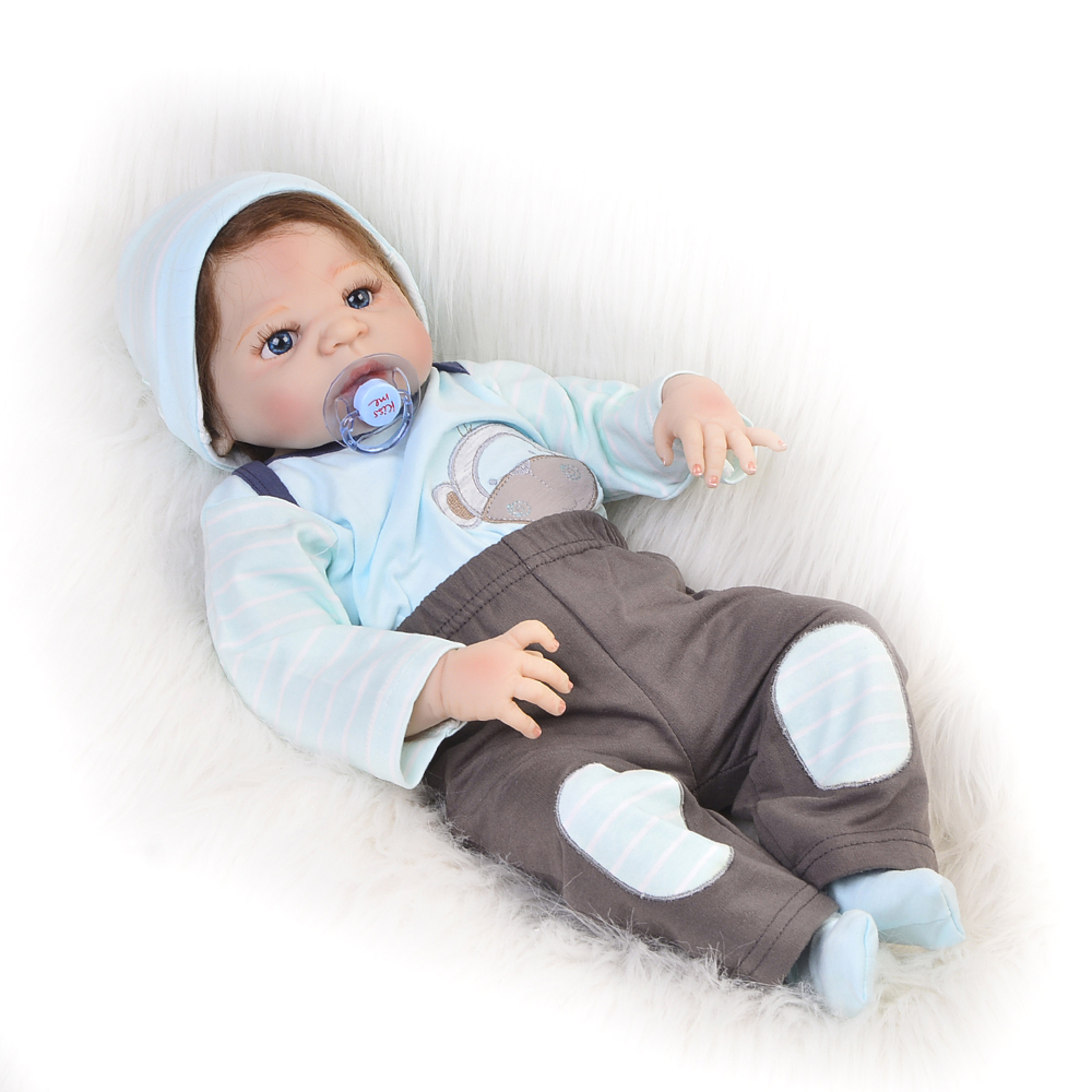 2017 Design Reborn Baby Dolls Boy Full Body Silicone Vinyl Babies 23 inch So Truly Baby Reborn Kids Fashion Birthday Gifts 18 inch babies reborn brinquedo menina 45cm full vinyl body rooted curly mohair blue eyes boy body silicone reborn baby dolls