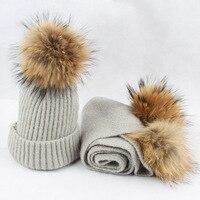 Dzieci Zestaw Luksusowych Winter Warm Crochet Czapki z dzianiny Szalik i Kapelusz i szaliki z Prawdziwego futra pom Beanie Kapelusz dla chłopców i dziewczyny