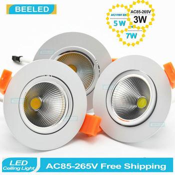 LED COB downlight wpuszczane lampy sufitowe LED lampy punktowe u nas państwo lampy 3 W 5 W 7 W ciepły biały Lampy LED żarówka aluminiowa biały wystrój domu led tanie i dobre opinie 90-260 v ROHS Pokrętło przełącznika Foyer 2years beeled WHITE Aluminium BL-20140807-COB357 Oszczędność energii