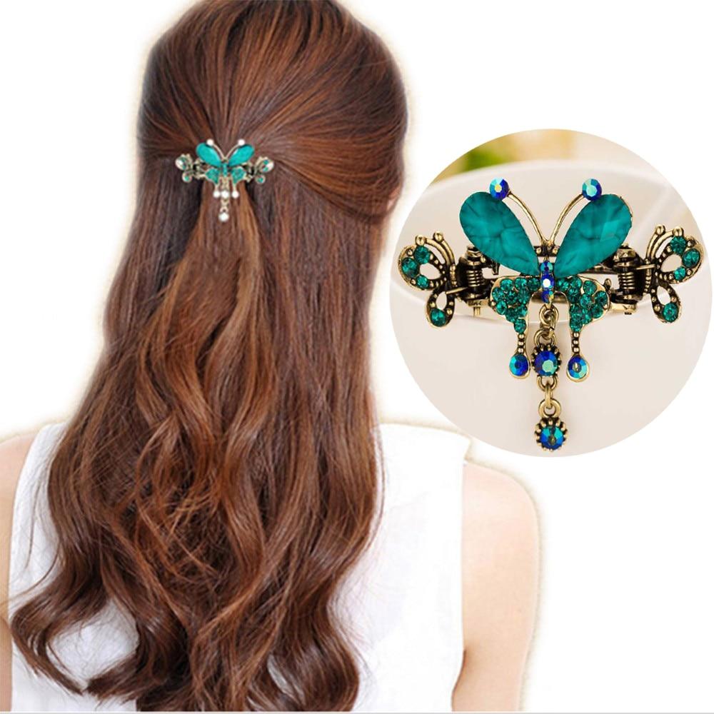 3 5 Black Flower Hair Clip With Flower Center: FAMSHIN New Vintage Women Elegant Gem Butterfly Flower