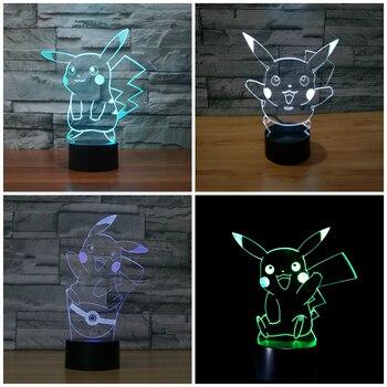 Bande dessinée Pokemon Pikachu 3D lumière USB Interrupteur Tactile Lumière de Nuit 7 couleur table à langer bureau Lampe veilleuse pour Enfants Jouets IY803313