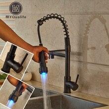 Свет весной выпадающее двойной носик для ванной кухня смесители Однорычажный латунь кухня горячей и холодной воды кран