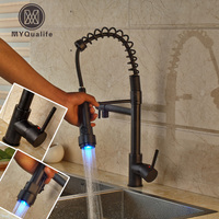 LED Light Spring Pull Down Dual Spout Bathroom Kitchen Mixer Taps Single Lever Brass Kitchen Hot