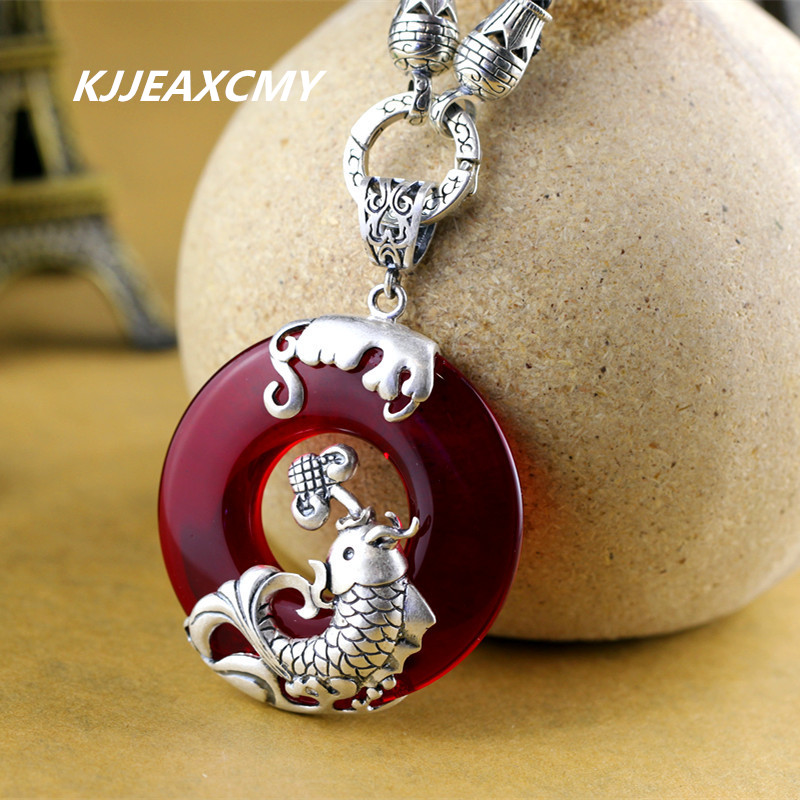 KJJEAXCMY Silver Black Agate chalcedony garnet Ruby Pendant retro exaggerated large female models simple sweater 925 silver green yellow chalcedony agate pendant buckle female sweater chain large round jade pendant