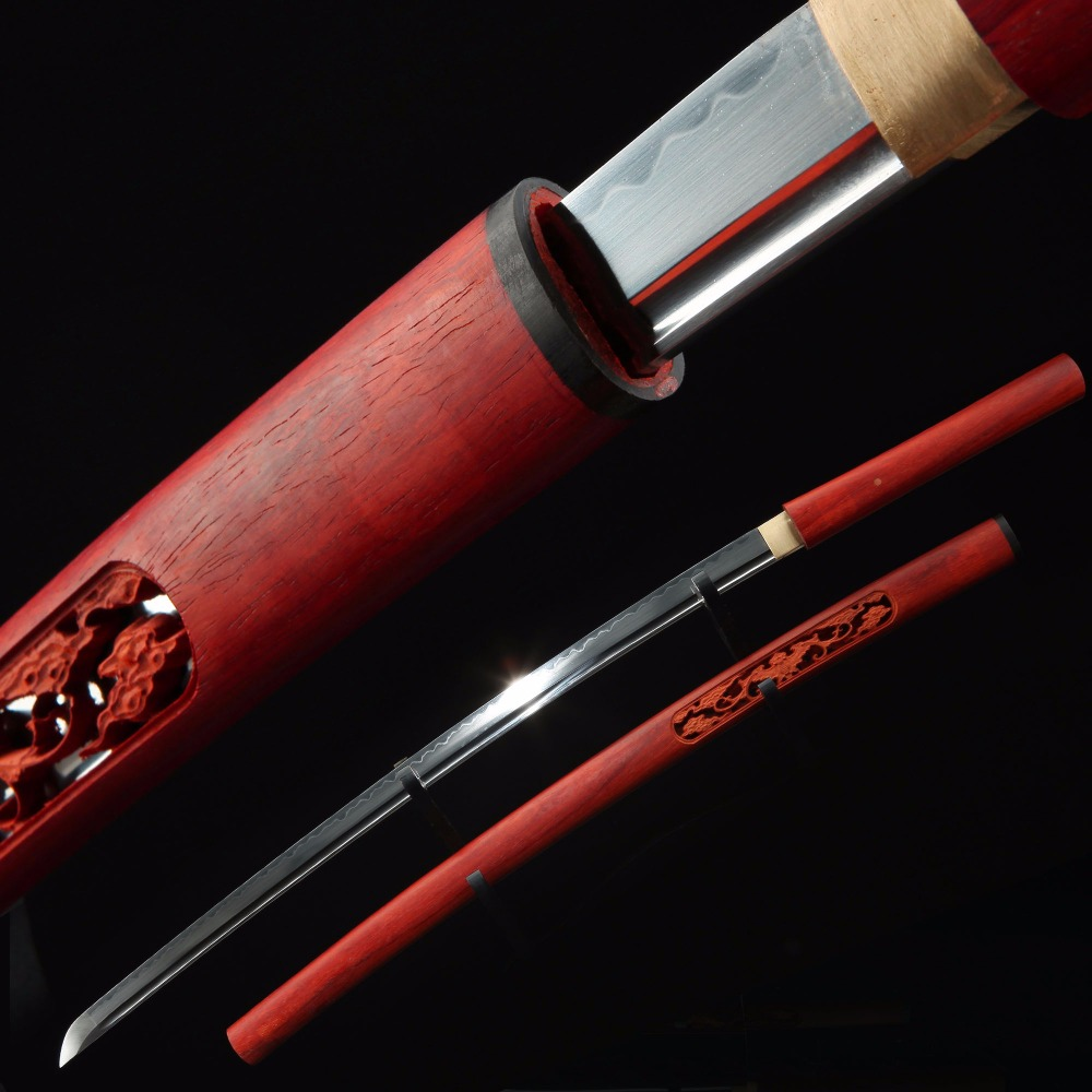 AUWIY-T10 Hollow Carved Mahogany Burnt Sword Samurai Really Sharp KatanaAUWIY-T10 Hollow Carved Mahogany Burnt Sword Samurai Really Sharp Katana
