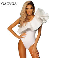 GACVGA Sexy Women Sleeveless Bodysuits Slim Ruffles Bodycon Short Jumpsuits Ruffle Off Shoulder Party Rompers Combinaison