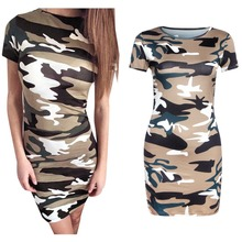2016 Summer Women Camouflage Dress army green Printing bodycon pnecil Dresses Sexy Mini Dress Free Shipping Vestidos Robes
