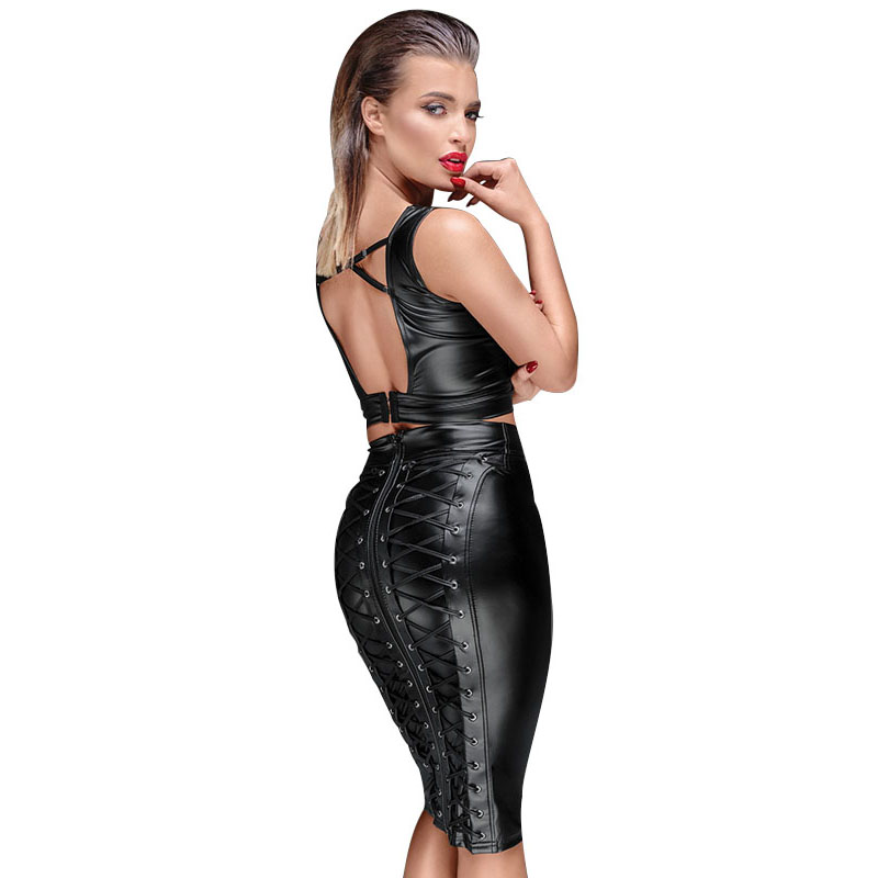Gothic Wet look Black Faux Leather Skirt Sexy Punk Back Zipper Lace Up Wrap Pencil Skirt 2018 Summer Bodycon Midi Skirts Womens (3)