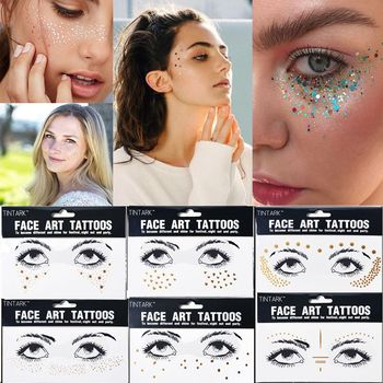 1PC Europe Gold Temporary Face Tattoo Stickers Spot Waterproof Crystal Freckles Bronzing Eye Glitters Makeup Flash Tools
