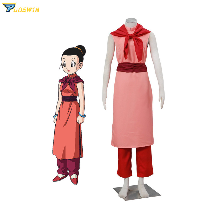 Anime Dragon Ball Chichi Adult Cheongsam Pink Cosplay Costume Custom Made Any Size