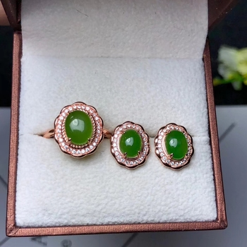 grape colour natural Prehnite gemstone ring and earrings jewelry set with 925 silver promotion welfare