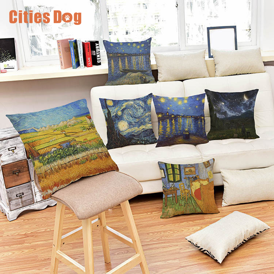 45X45cm Van Gogh Oil Painting Style Cushion Linen Cotton Pillow for Car Chair Gift cojines Cushions Pillows