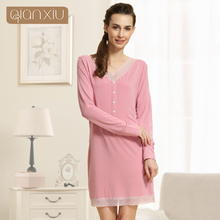 Qianxiu Chemise de Nuit Pour Les Femmes Tricoté Sous-Vêtements Modale V-cou Genou-longueur vêtements de Nuit Sexy Dentelle Sleepshirts(China (Mainland))