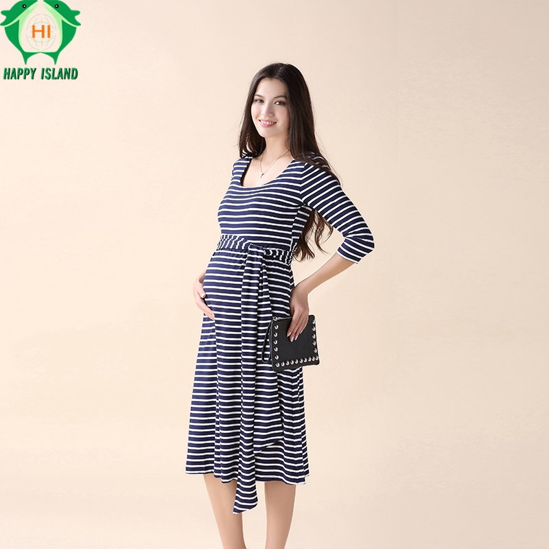 Happy Lovely Stripped Pregnant Women Party Sashes Dress Elegant Office Lady Vestidos Maternity Clothes Plus Size Maternity Dress