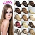 24 pulgadas 60 cm Clip en extensiones del pelo humano Rita pelo del pelo humano Clip en extensiones de cabello 8 unidades de la virgen brasileña Clip en la extensión del pelo