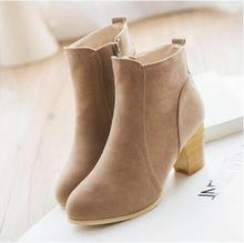new Autumn Winter 2016 women's boots High Quality Solid sandals European lady PU Leather Fashion Boots