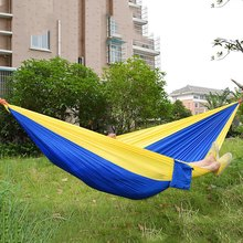 Assorted Color Hanging Sleeping Bed Parachute Nylon Fabric Outdoor Camping Hammocks Double Person Portable Hammock Swing Bed(China)
