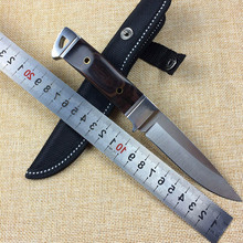WTT Camping Hunting Straight knife With steel head + color wood Handle Outdoor Tactical Survival Fixed Blade Knives EDC Tools
