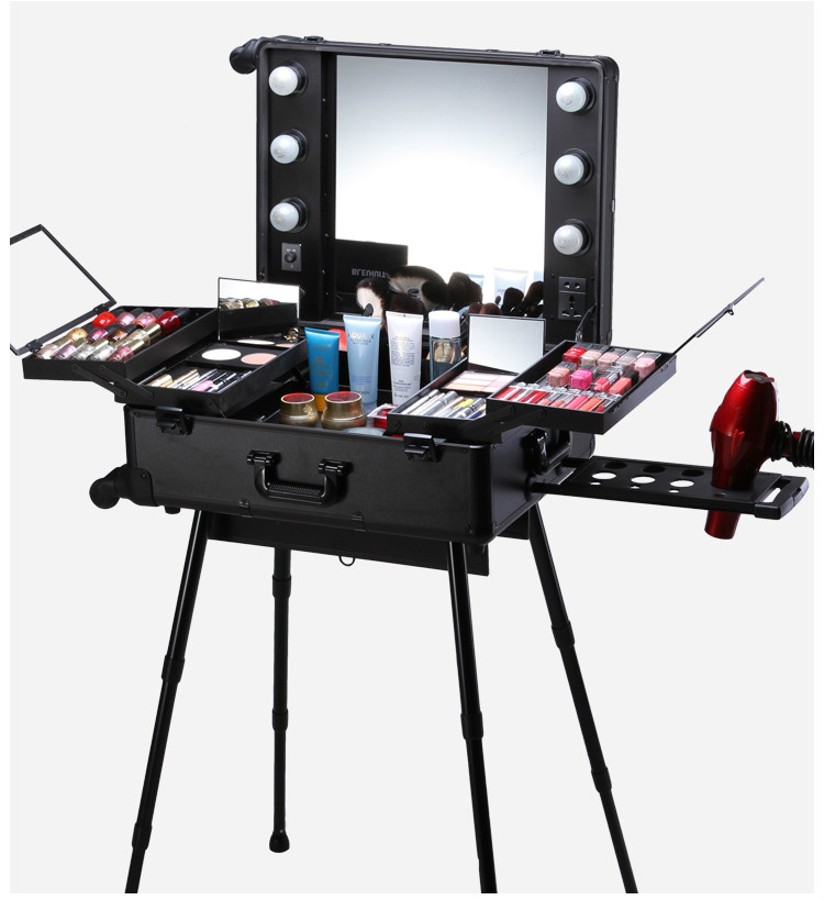 Éclairé 2018 Picture Chariot De Cas Picture as Beauté Miroir Et En Nouveau Aluminium Maquillage As Professionnel Boîte Avec Roues 8qvvUB