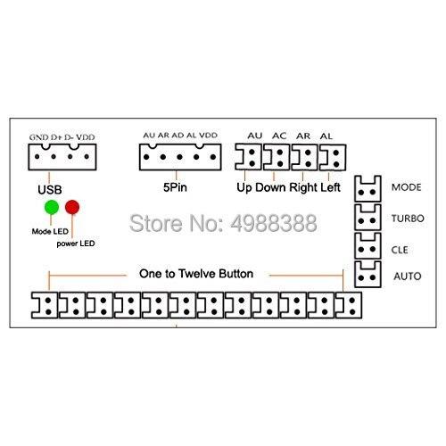 2 Players Zero Delay Arcade DIY KIT USB ENCODER PC TO JOYSTICK FOR 4way & 8way ZIPPY JOYSTICK & 4.8MM BUTTON