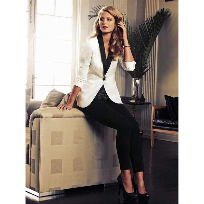 White Jacket Black Pants Elegant Formal Work Wear 2 Piece Set Womens Business Suits Blazer Female Trousers Suit Office Uniform