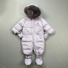 2016 new winter infant boys girls baby snowsuit outfits real raccoon fur collar hooded thermal toddler jumpsuits snow wear