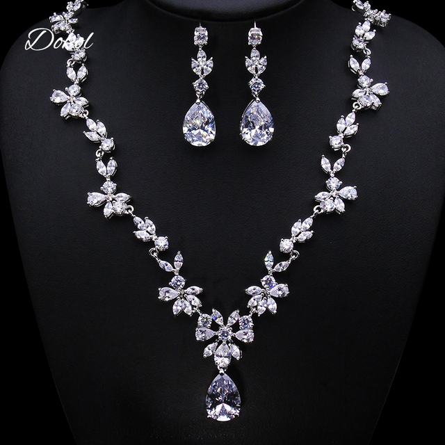 Dokol Fashion Fairy Jewelry Sets For Wedding Clear Pear Shape Cubic Zirconia Earrings Necklace Set Parure
