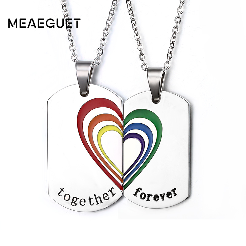 Meaeguet Lovers Rainbow Resin Necklaces & Pendants 316L Stainless Steel Jewelry For Couple Together Forever