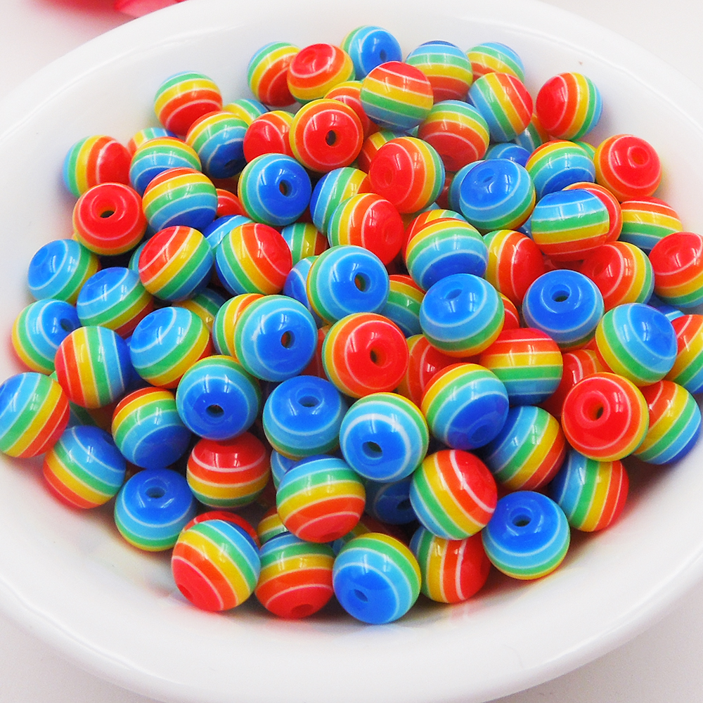 6mm 500pcs resin diy beads rainbow colors stripe 8mm dia 500pcs for making necklace bracelet diy for Rainbow color stripe watch