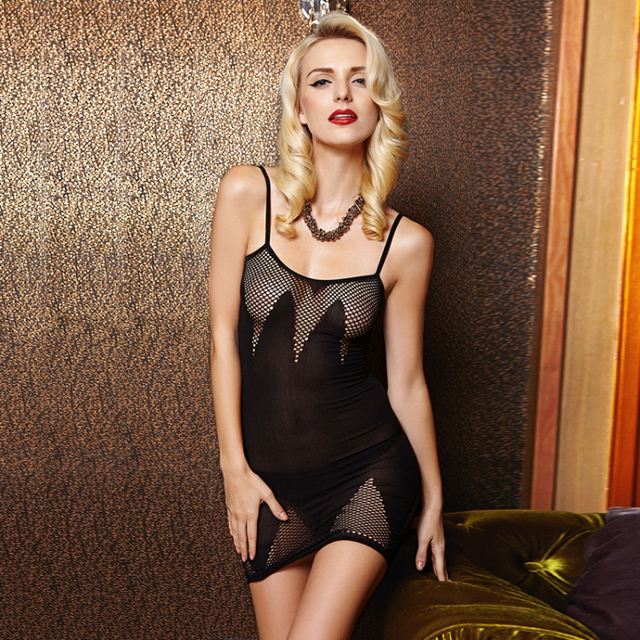 2017 Hot Sell Sexy Lingerie Hot Mesh Hollow Baby Doll Dress Erotic Lingerie Black Women Sexy Costumes Cotton Sexy Underwear