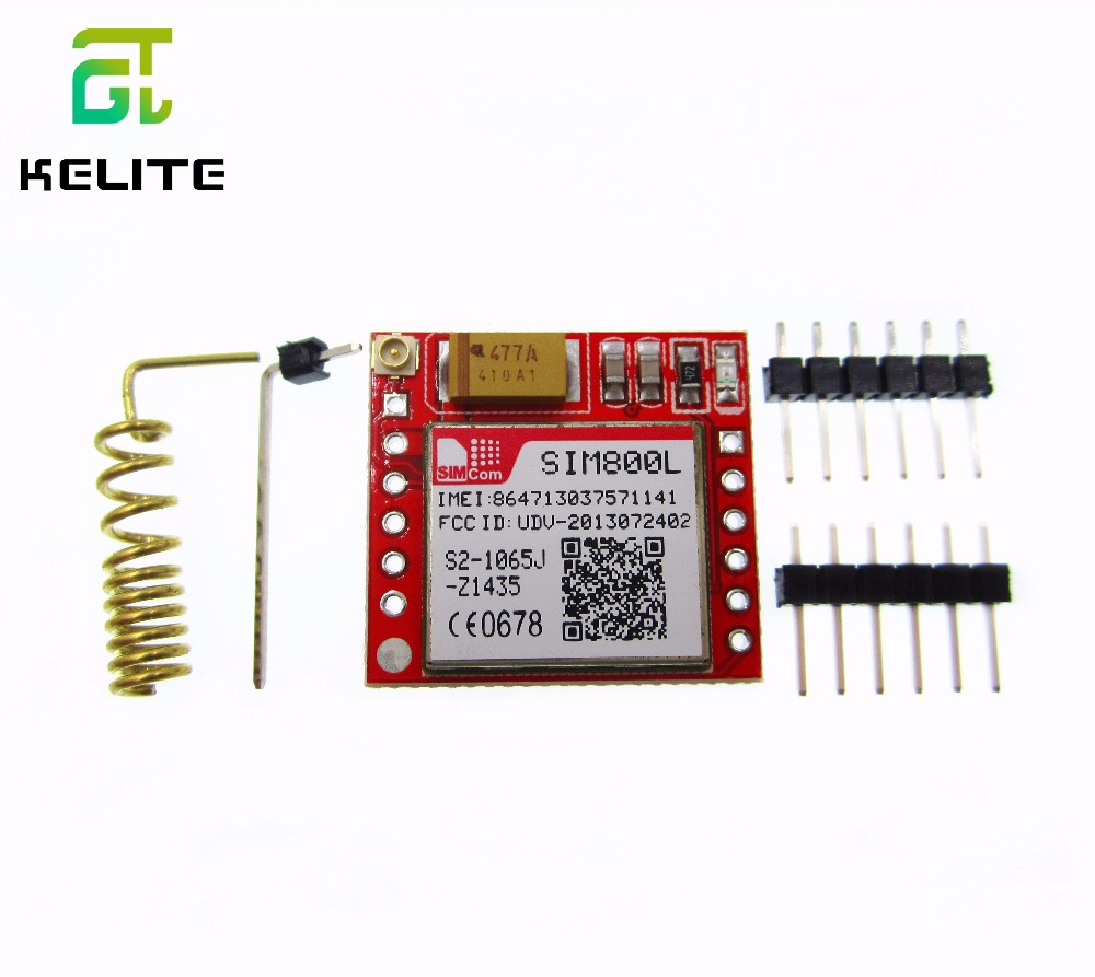 5pcs/lot Smallest SIM800L GPRS GSM Module MicroSIM Card Core BOard Quad-band TTL Serial Port smallest sim800l quad band network mini gprs gsm breakout module