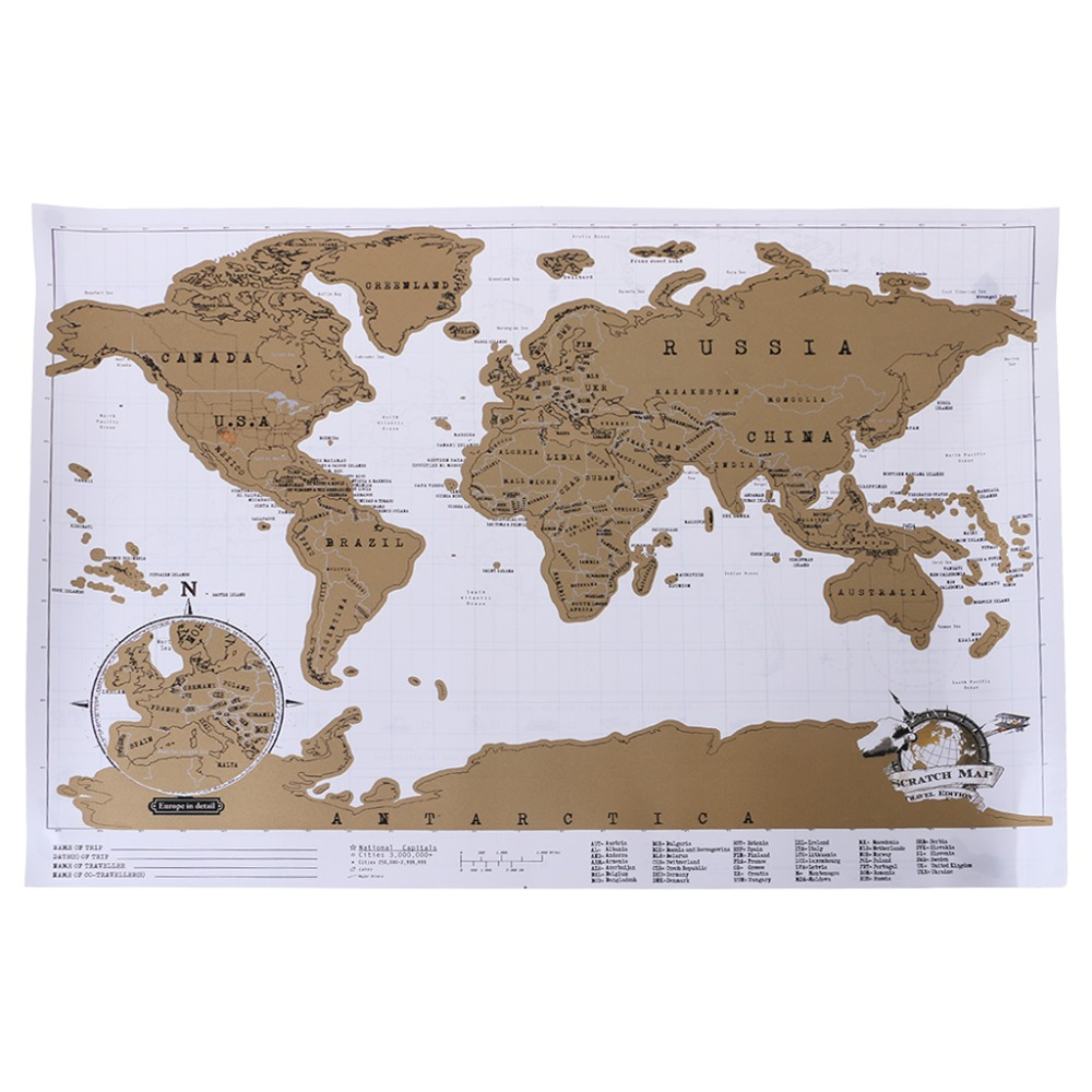 Deluxe Personalized Scratch Off Journal World Map And Travel Atlas Poster 5