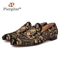 Piergitar/2019 мужские мокасины ручной работы с золотой вышивкой, без застежки, Модные Мужские модельные туфли для вечеринки и свадьбы, тапочки дл