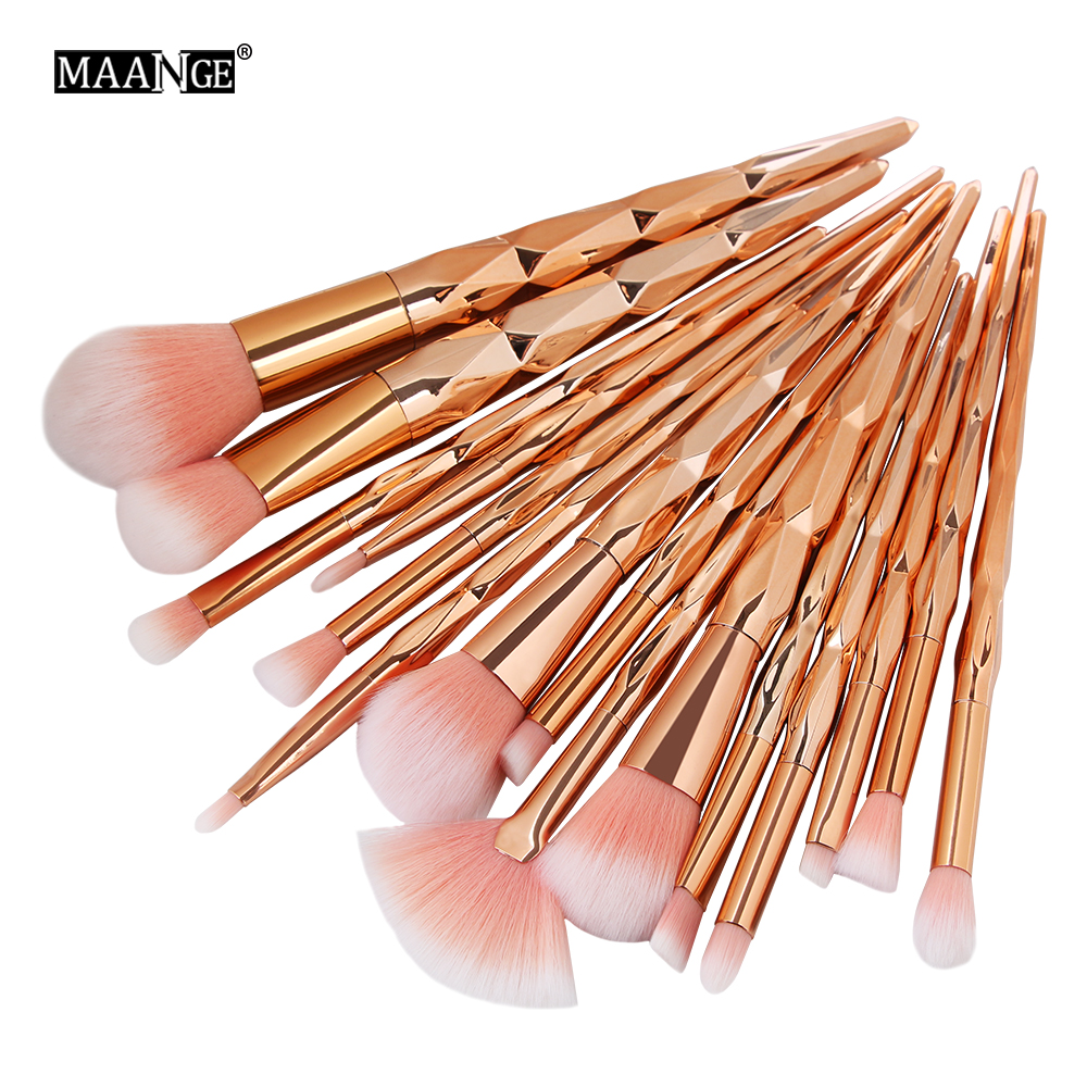MAANGE 10Pcs/15Pcs Makeup Brushes Set Powder Foundation Eyebrow Eye Shadow Lip Concealer Fan Makeup Brush Kit Pincel Maquiagem цена