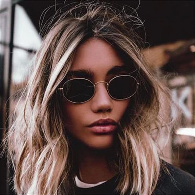 1f59c751a295a Bonito Sexy Retro Oval óculos de Sol Mulheres Famosa Marca Pequeno Ouro  Preto 2018 Óculos de
