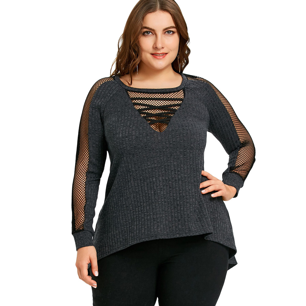 0937e184fb8 Detail Feedback Questions about Gamiss Big Size 5XL Fishnet Insert Ribbed Top  Women T Shirt Casual O Neck Long Sleeve T Shirt Woman Clothes Plus Size Top  ...