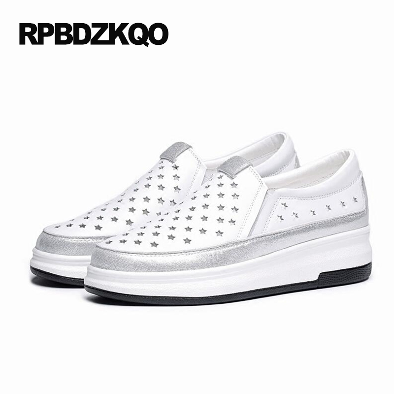 Medium Round Toe Creepers Black Wedge Cool Shoes Platform High Heels Size 4 34 Ladies White Plus Casual Pumps Spring Fashion New парктроник parkmaster 4 dj 34 34 4 a white