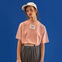 Harajuku Summer New Women's T-shirts Short-sleeved T-shirt Pink T Shits Original Playful Cartoon Letters Embroidery Tee Tops