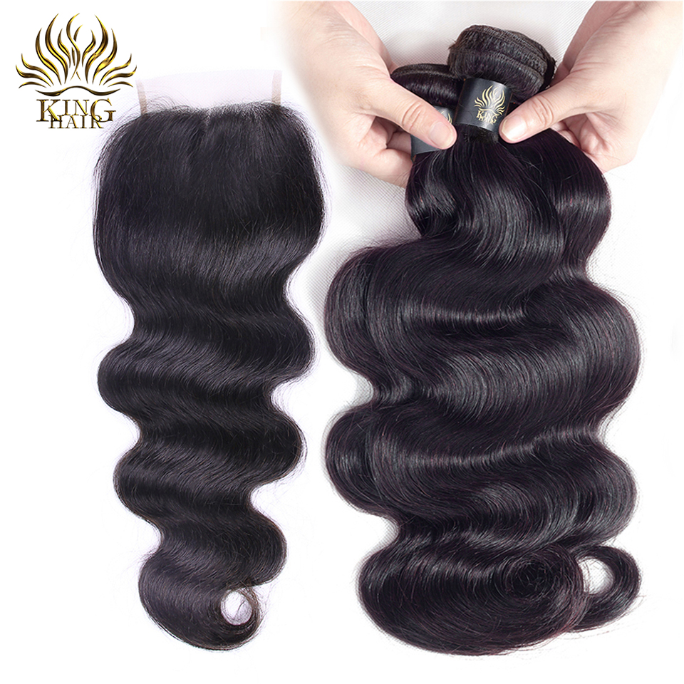 King Hair Brazilian Body Wave Med Closure Remy Human Hair Weave 3 - Menneskehår (sort)