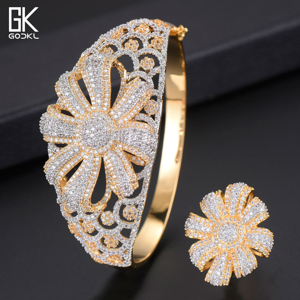 GODKI Luxury Cubic Zircon Crystal CZ Jewelry Sets For Women Wedding African Bridal Bangle Ring Set